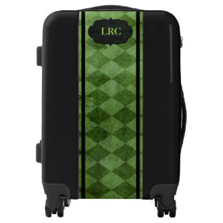 Elegant Green Diamond Harlequin Personalized Luggage