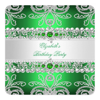 Elegant Green Diamonds Silver Floral Birthday Card