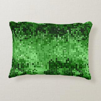 Elegant Green Disco Ball Glitter & Sparkles Accent Pillow