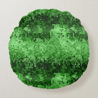 Elegant Green DiscoBall Glitter & Sparkles Round Pillow