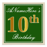 [ Thumbnail: Elegant, Green, Faux Gold 10th Birthday + Name Invitation ]