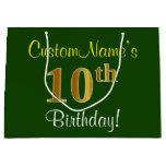 [ Thumbnail: Elegant, Green, Faux Gold 10th Birthday + Name Gift Bag ]