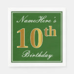 [ Thumbnail: Elegant Green, Faux Gold 10th Birthday + Name Napkin ]