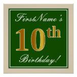 [ Thumbnail: Elegant, Green, Faux Gold 10th Birthday + Name Poster ]