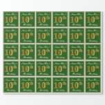 [ Thumbnail: Elegant, Green, Faux Gold 10th Birthday + Name Wrapping Paper ]
