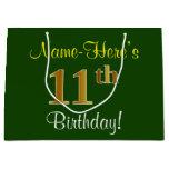 [ Thumbnail: Elegant, Green, Faux Gold 11th Birthday + Name Gift Bag ]