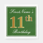[ Thumbnail: Elegant Green, Faux Gold 11th Birthday + Name Napkin ]