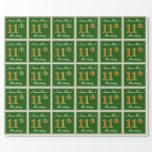 [ Thumbnail: Elegant, Green, Faux Gold 11th Birthday + Name Wrapping Paper ]