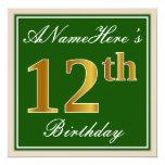 [ Thumbnail: Elegant, Green, Faux Gold 12th Birthday + Name Invitation ]