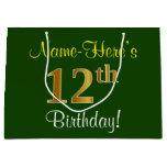 [ Thumbnail: Elegant, Green, Faux Gold 12th Birthday + Name Gift Bag ]
