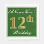 [ Thumbnail: Elegant Green, Faux Gold 12th Birthday + Name Napkin ]