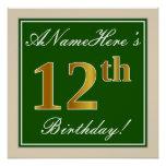 [ Thumbnail: Elegant, Green, Faux Gold 12th Birthday + Name Poster ]
