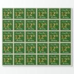 [ Thumbnail: Elegant, Green, Faux Gold 12th Birthday + Name Wrapping Paper ]