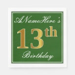 [ Thumbnail: Elegant Green, Faux Gold 13th Birthday + Name Paper Napkin ]