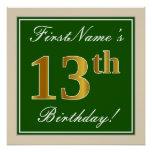 [ Thumbnail: Elegant, Green, Faux Gold 13th Birthday + Name Poster ]