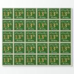 [ Thumbnail: Elegant, Green, Faux Gold 13th Birthday + Name Wrapping Paper ]