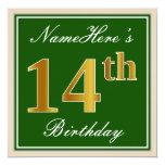 [ Thumbnail: Elegant, Green, Faux Gold 14th Birthday + Name Invitation ]