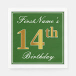 [ Thumbnail: Elegant Green, Faux Gold 14th Birthday + Name Paper Napkin ]