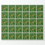 [ Thumbnail: Elegant, Green, Faux Gold 14th Birthday + Name Wrapping Paper ]