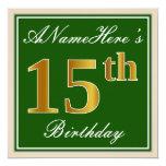 [ Thumbnail: Elegant, Green, Faux Gold 15th Birthday + Name Invitation ]