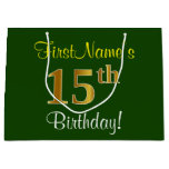 [ Thumbnail: Elegant, Green, Faux Gold 15th Birthday + Name Gift Bag ]