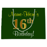 [ Thumbnail: Elegant, Green, Faux Gold 16th Birthday + Name Gift Bag ]