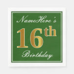 [ Thumbnail: Elegant Green, Faux Gold 16th Birthday + Name Paper Napkin ]