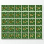 [ Thumbnail: Elegant, Green, Faux Gold 16th Birthday + Name Wrapping Paper ]
