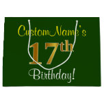 [ Thumbnail: Elegant, Green, Faux Gold 17th Birthday + Name Gift Bag ]