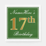 [ Thumbnail: Elegant Green, Faux Gold 17th Birthday + Name Paper Napkin ]
