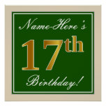 [ Thumbnail: Elegant, Green, Faux Gold 17th Birthday + Name Poster ]
