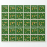 [ Thumbnail: Elegant, Green, Faux Gold 17th Birthday + Name Wrapping Paper ]