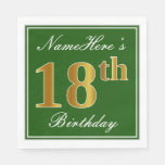 [ Thumbnail: Elegant Green, Faux Gold 18th Birthday + Name Paper Napkin ]