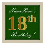 [ Thumbnail: Elegant, Green, Faux Gold 18th Birthday + Name Poster ]