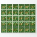 [ Thumbnail: Elegant, Green, Faux Gold 18th Birthday + Name Wrapping Paper ]