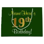 [ Thumbnail: Elegant, Green, Faux Gold 19th Birthday + Name Gift Bag ]