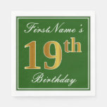 [ Thumbnail: Elegant Green, Faux Gold 19th Birthday + Name Paper Napkin ]