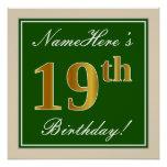 [ Thumbnail: Elegant, Green, Faux Gold 19th Birthday + Name Poster ]