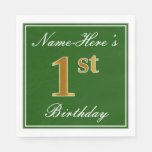 [ Thumbnail: Elegant Green, Faux Gold 1st Birthday; Custom Name Napkin ]