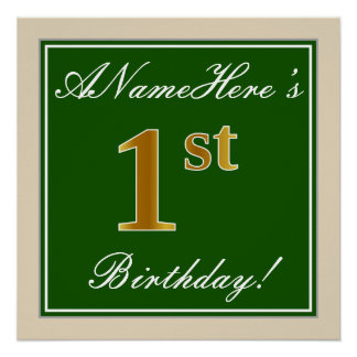 Elegant, Green, Faux Gold 1st Birthday + Name Poster