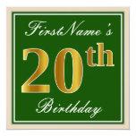 [ Thumbnail: Elegant, Green, Faux Gold 20th Birthday + Name Invitation ]