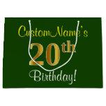 [ Thumbnail: Elegant, Green, Faux Gold 20th Birthday + Name Gift Bag ]