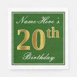 [ Thumbnail: Elegant Green, Faux Gold 20th Birthday + Name Napkin ]