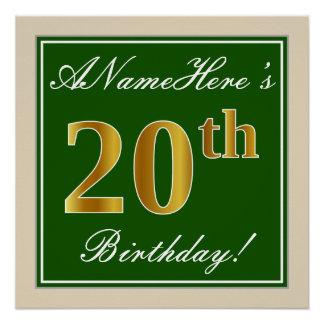 Elegant, Green, Faux Gold 20th Birthday + Name Poster