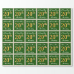 [ Thumbnail: Elegant, Green, Faux Gold 20th Birthday + Name Wrapping Paper ]