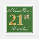 [ Thumbnail: Elegant Green, Faux Gold 21st Birthday + Name Napkin ]