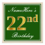 [ Thumbnail: Elegant, Green, Faux Gold 22nd Birthday + Name Invitation ]