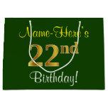 [ Thumbnail: Elegant, Green, Faux Gold 22nd Birthday + Name Gift Bag ]