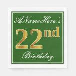 [ Thumbnail: Elegant Green, Faux Gold 22nd Birthday + Name Napkin ]