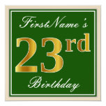 [ Thumbnail: Elegant, Green, Faux Gold 23rd Birthday + Name Invitation ]